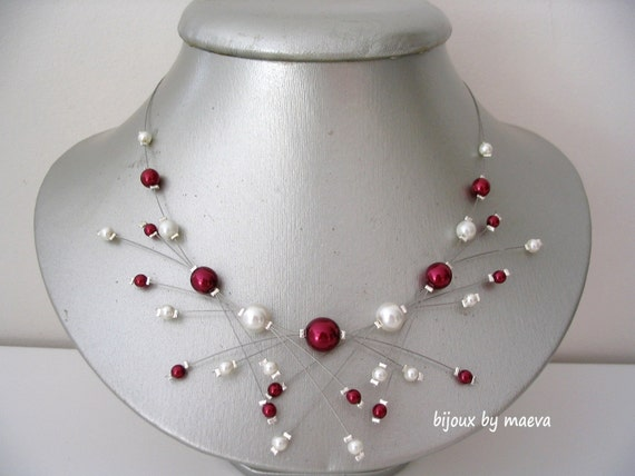 collar de bisutería boda nupcial de color burdeos y marfil perlas chispas