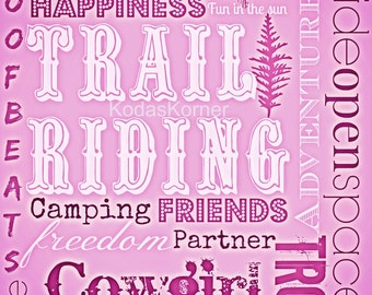 Cowgirl Trail Riding Word Art Pink