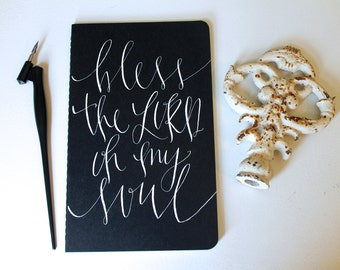 Hand lettered Scripture Moleskine Journal