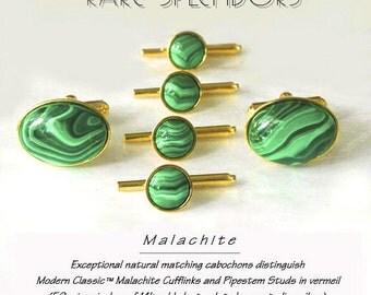 Upscale Natural Malachite Cufflinks and Studs