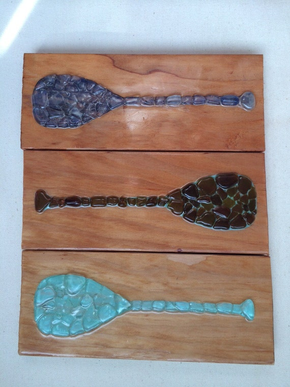 Wood Paddle Wall Decor : Sea glass art paddle wall decor outrigger canoe by