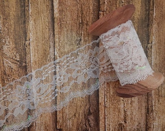 "White iridescent Polyester Raschel Flat Lace Trim 3"" 5 yards"