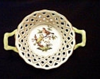 Reduced: Vintage Herend Handpainted Rothschild Bird Round China Openwork Basket with Handles - #7413/RO made in Hungary