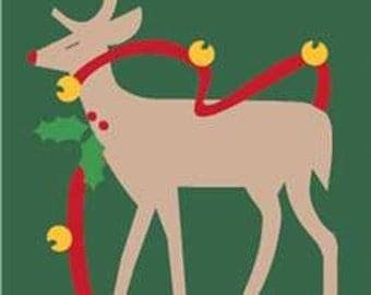 Reindeer Handcrafted Applique House Flag