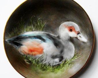 Hand Painted Porcelain Miniature Plate - Mallard Duck