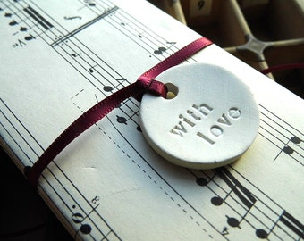 Handmade white clay gift tag - with love - wedding favours