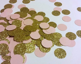 230 Blush Pink  Glitter Gold Confetti Blush Pink Gold Bridal Shower Decoration Pink Gold First Birthday Confetti Pink Gold Party Pink Gold