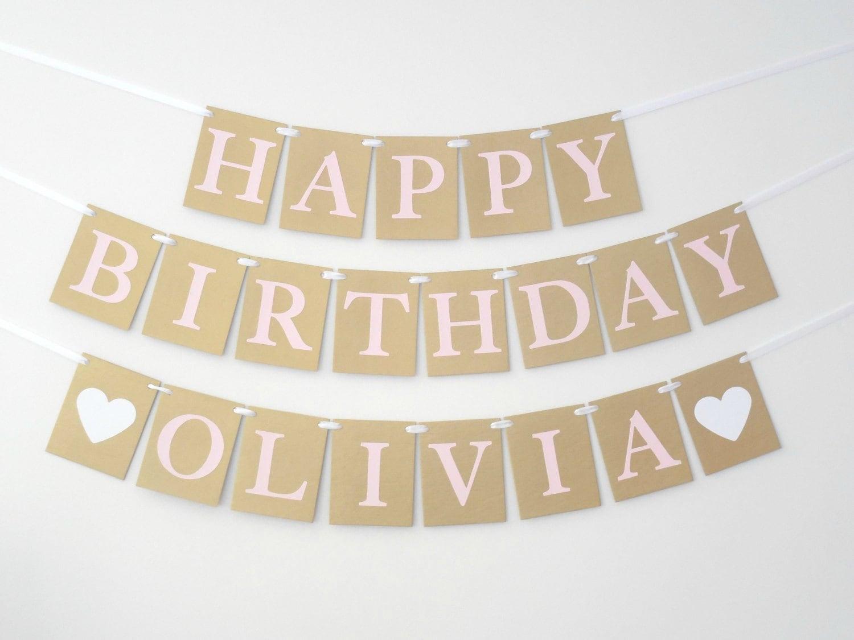happy birthday banner gold and pink birthday decoration girl