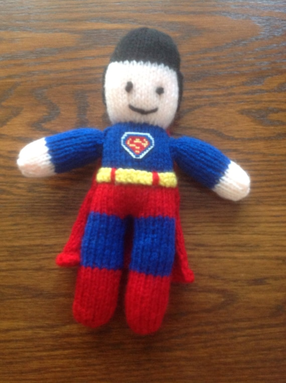 Knitting Pattern Superman Doll : Knitted superman doll