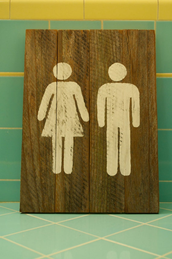 Restroom Sign Wood Bathroom Sign By Signs From A Sparrow