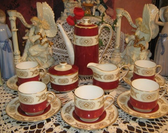 SALE! 15 Pcs, Vintage Aynsley Coffee Set. Circa 1934 -1939