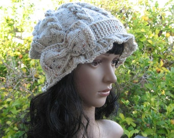 Hand knit oatmeal cabled beanie, ruffled brim slouchy hat, cable knit oatmeal color slouchy, flapper style bow tie hat, boho style beanie