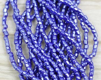 "Full hank!  9/0 3Cut Royal Blue Luster Czech seed beads - 10/18"" hank"