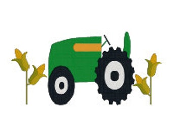BUY 2, GET 1 FREE - John Deere-Inspired Filled Tractor in Corn Field Machine Embroider Design in 2 Sizes