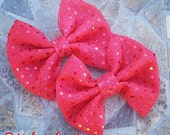 Red Sequin Hair Bow Set