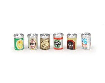 Beer Cans Dollhouse Kitchen Miniature Beer Cans Set of 6 Embellishment Buttons 1/12 or 1/6 Dollhouse Supply