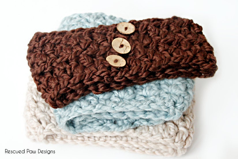 Crochet Ear Warmer Pattern Bulky Yarn : Crochet Pattern Ear Warmer 2 Sizes Child and by RescuedPaw