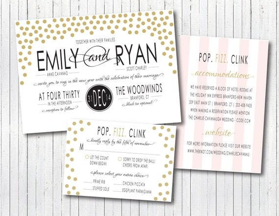 New Years Eve Wedding Invitation: New Year's Eve Modern Elegant Confetti Wedding Invitation