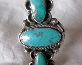 Native American Three Stone  Turquoise Ring.