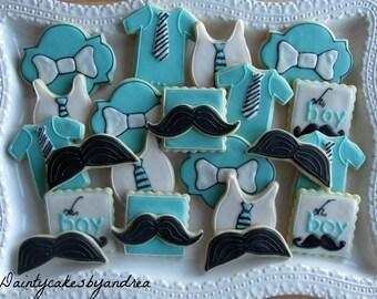 1 dozen little man mustache boy baby shower cookies!