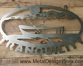 Metal Cut Row Boat Lake Vacation Lake House Fishing Boat Decor Log Cabin Decor Custom Personalized Metal Wall Art Sign metal design works