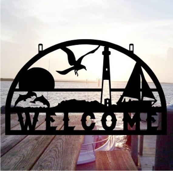 Metal cut beach house decor shore decor by metaldesignworx for Shore house decor
