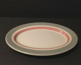 Vintage Shenango Pink and Gray Platter, Vintage Restaurant Ware China Platter, Cafe China, White Platter