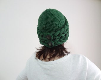 Emerald Green Wool  Hat Beanie,  Winter Beanie, Winter Accessories, Gift For Her