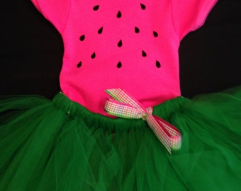 Sweet Waterrmelon Onesie with Tutu and Hairbow