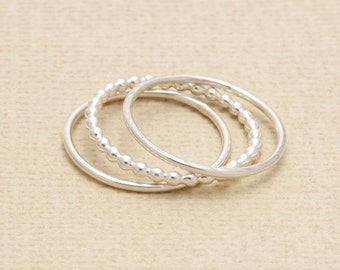925 stering silver simple 3 pcs band ring, stackable rings, bridesmaid ring, wedding gift,