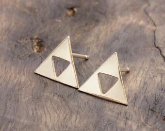14 karat gold filled triple triagle, triforce stud earrings (R_00058)