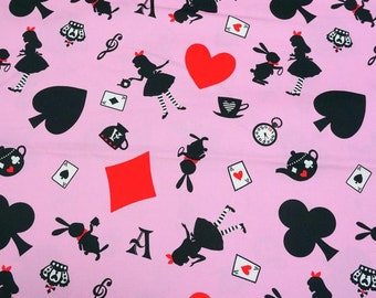 Pink Alice In Wonderland Cotton Fabric by the Yard