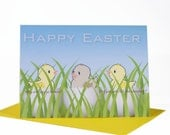Funny handmade Happy Easter card humorous 3 chicks in eggs one brown from eating all the chocolate envelope choices blank inside