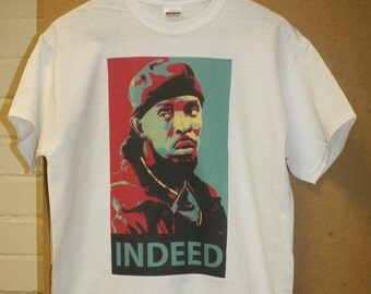 """Omar """"Indeed"""" T-Shirt the wire hbo sopranos omar little michael k williams hipster indie vtg retro tv movie parody indeed S M L XL"""