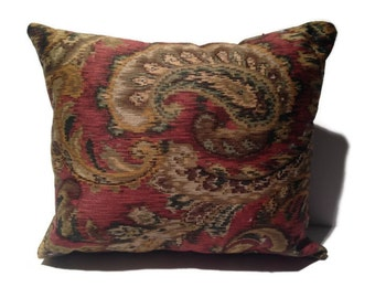 Decorative throw pillow, paisley, red, green, & gold