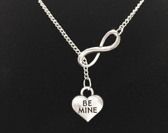 Infinity Be Mine I Love You Heart Valentine's Day Gift Wife Girlfriend Y Lariat Necklace