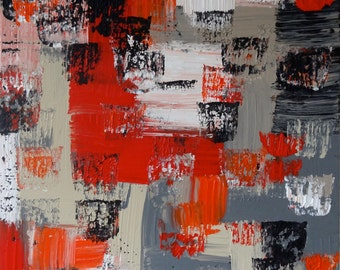 """Original, abstract painting on framed wood panel.  """"Desire"""""""