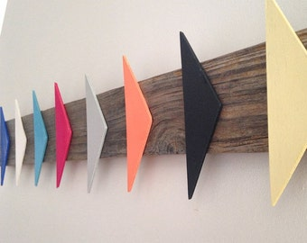 Colourful hand painted, recycled timber wall hanging