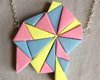 Pink yellow blue bubblegum triangle polymer clay statement necklace