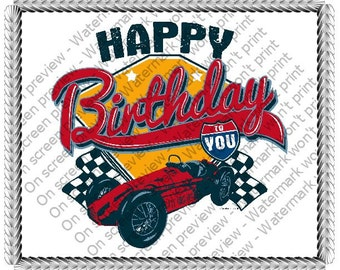 Happy Birthday Race Car Edible Cake or Cupcake Toppers - Choose Your Size