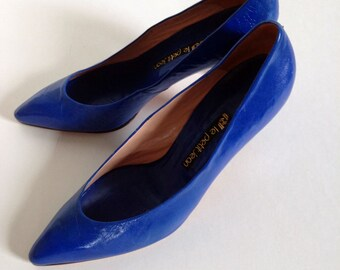 VINTAGE 1980s, Blue, Handmade, All Leather, High Heeled Pumps By Le Petit Jean - Soft Pointed Toe - Vintage, Blue Leather Pumps - Womens 9B
