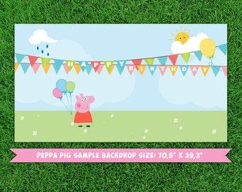 Peppa Pig dessert table backdrop (digital file)