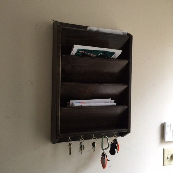 4 pocket 24 tall mail letter organizer handcrafted wood - Wall mounted letter holder and key rack ...