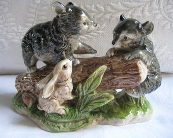 Vintage Ceramic Bear Cubs and Bunny Figurine