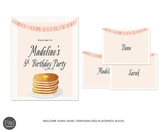 Pancakes and Pajamas Birthday Party Decoration Printable's