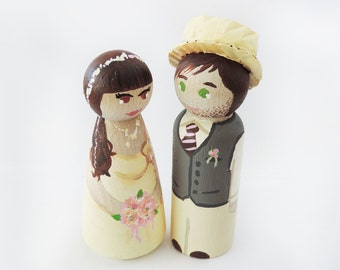 Wedding cake toppers - Couple Cake Topper wood - wedding cake figurines - Todo customize