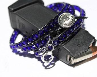 Thin blue line bracelet for Law Enforcement family members.