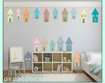 FREE SHIPPING Happy Houses Pastel Colors.12 Big houses. 5 Small Houses. Nursery Wall Decal. Vinyl Wall Decal. Removable Wall Decal.