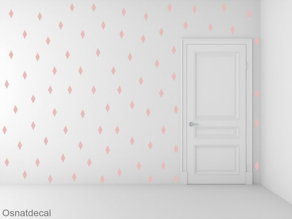 FREE SHIPPING 288 Rhombus Wall Decal Pink ,Nursery Wall decal. Vinyl Wall Decal. Wall Sticker. Kids Room Wall Decal.