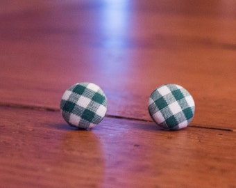 """Small Green and White Gingham Button Earrings, Fabric Covered Checkered Post Earrings, Small Retro Style Stud Earrings, 5/8"""" Size Buttons"""